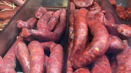 different types of sausages and sausages close-up Стоковые видеозаписи