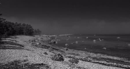 sail rock : Black and white time lapse of clouds moving over a still sea on a rocky shore with trees