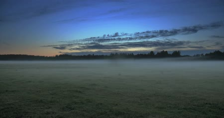 geçen : Time lapse of clouds moving above a field with fog flowing through with trees in the background Stok Video