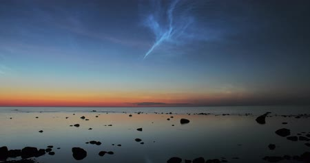 dark island : Time lapse of noctilucent clouds Stock Footage