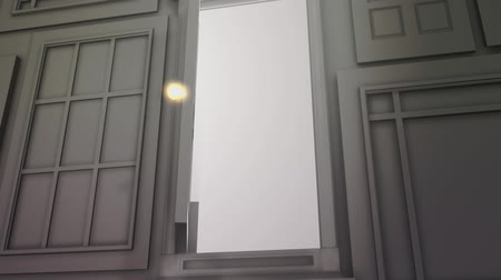 drzwi : High definition animation of a wall of doors with one special door opening to bright light. Wideo