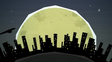 paper airplane : Dynamic graphic animation using paper cutout styled elements to illustrate a night cityscape against the moon.  Stock Footage