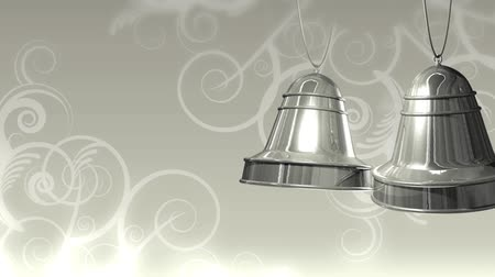ezüst : High definition animation of silver bells swinging over a grey, satin decorative background. Stock mozgókép