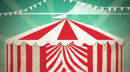 цирк : Dynamic graphic animation using paper cutout styled elements to illustrate a circus tent opening.  Стоковые видеозаписи