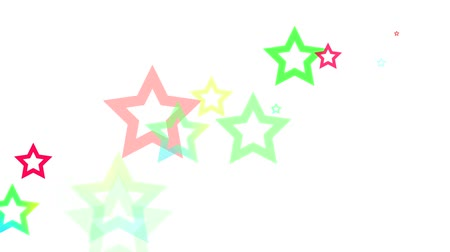estrela : Dynamic graphic animation of random colored stars on a white background. High definition 1080p and loop-ready. Vídeos