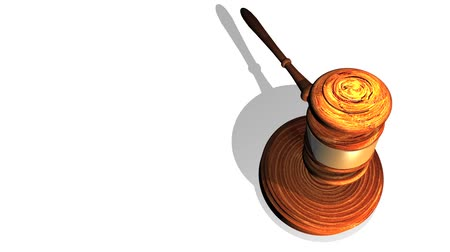 árverezői kalapács : High definition animation of a wooden gavel striking a wooden block on a white background. Stock mozgókép