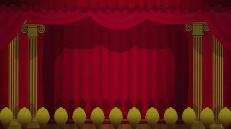 stage theater : Computer generated animation of an illustrated theatre stage opening to green screen. High definition 1080p. Stock Footage