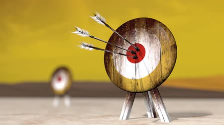 hedef : Computer generated animation of a medieval wooden target shot with arrows. High definition 1080p.