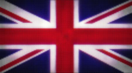 Лондон : Computer generated animation of a Union Jack flag formed in LED lights.