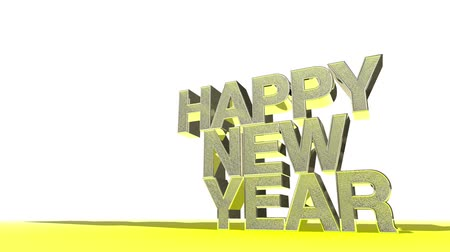 chunky : Animation of Happy New Year in big, bold, golden text.