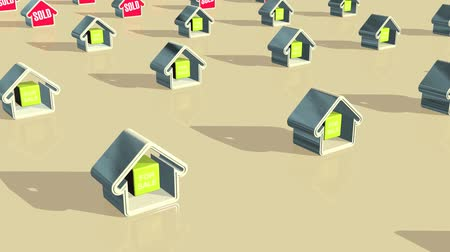 properties : Abstract animation of houses for sale changing to being sold. Stock Footage