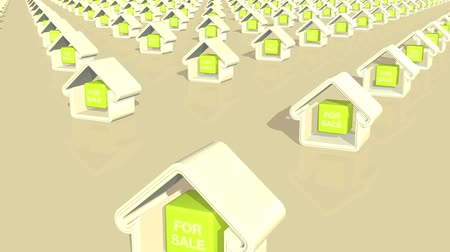 properties : Computer generated animation of multiple houses for sale. Stock Footage