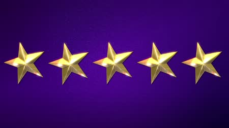 estrela : Computer generated animation of five gold stars appearing over a purple background. High definition 1080p.
