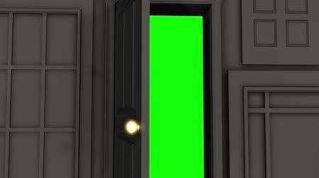 ajtó : Computer generated animation of a single door, amongst an abstract wall of doors, opening to green screen. High definition 1080p. Stock mozgókép