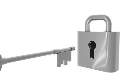 tuşları : Metal padlock opened with a key isolated on a white background. The first and last frame match for looping possibilities.