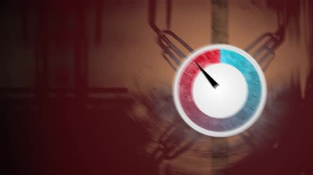 rozchod : Animation depicting a thermal pressure gauge reaching boiling point and then cooling down again.