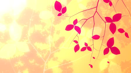 иллюстрированный : Leaves and branches grow into this multilayered background depicting an abstract springsummer sky.
