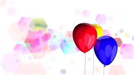 léggömb : High definition animated loop of brightly coloured balloons spinning over a multicoloured glitter background.
