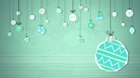 оформление : Baubles Swinging Loop HD  An animated background loop, created in a paper cutout style, to illustrate a selection of Christmas baubles. Ideal for your festive holiday season productions. Стоковые видеозаписи