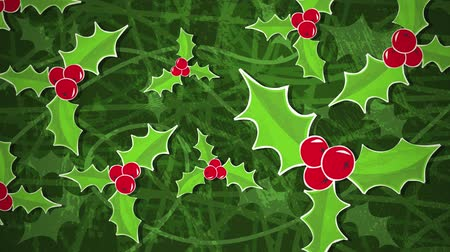 падуб : Holly Bush Loop HD  An animated background loop, created in a paper cutout style, to illustrate a holly bush. Ideal for your festive holiday season productions.