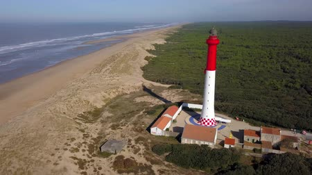 Aerial view of lighthouse of the Coubre, La palmyre, France Stock mozgókép