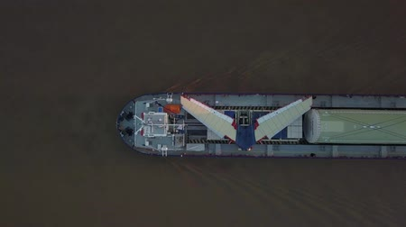 Aerial view of Boat carrying airplane wings on Garona, Bordeaux, France Stock mozgókép