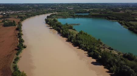 Aerial view of garonne and a lake in summer, france Stock mozgókép