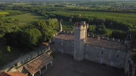 Aerial view of castle of sainte croix du mont at sunset, sainte croix du mont, france