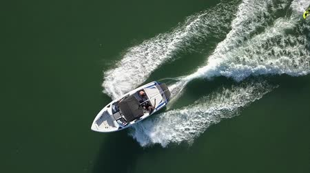 Aerial view of wakeboarder wakeboarding after a boat, virelade, gironde, france