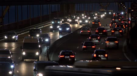 Car traffic jam on the highway by night, Pont Aquitaine, Bordeaux, France