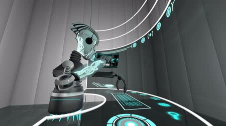 efektivní : Futuristic 3D robot accessing communication data using touchscreen technology