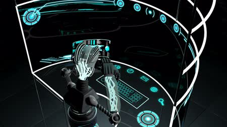 robots : Futuristic 3D robot accessing communication data using touchscreen technology