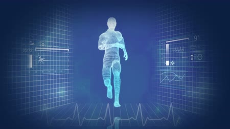 física : Digital motion graphic of a virtual 3D running male for medical and scientific research data Vídeos