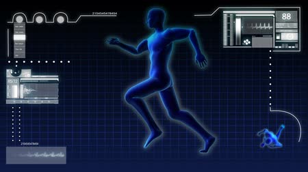 терапия : Digital motion graphic of a virtual 3D running male for medical and scientific research data Стоковые видеозаписи