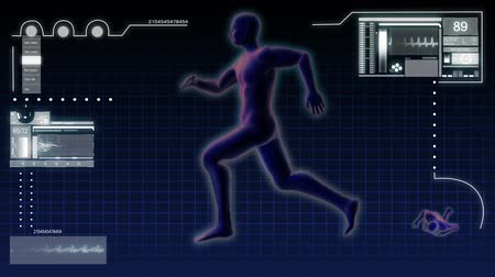 prosthesis : Digital motion graphic of a virtual running male in 3D illustration for medical and scientific research data