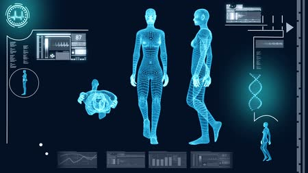innováció : Digital motion graphic of a virtual walking female in 3D illustration for medical and scientific research data Stock mozgókép