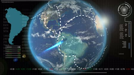 natural world : Digital computer motion graphic of the earth revolving with visual world finance communication technology Stock Footage