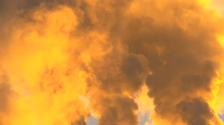 benzin : Smoke from power production plant seen golden at sunrise Stok Video