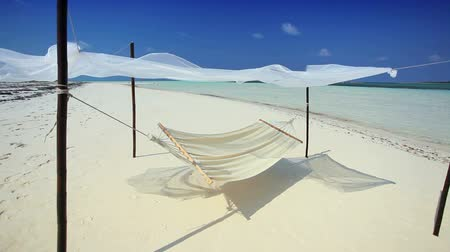 rejtekhely : Hammock swaying over white sands of a luxury hideaway island location Stock mozgókép