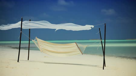 гамак : Hammock swaying lazily on a remote beach inviting relaxation
