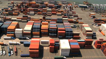 truck crane : Aerial view of Ships loading at a Container Port, New York Harbor, Manhattan, North America, USA