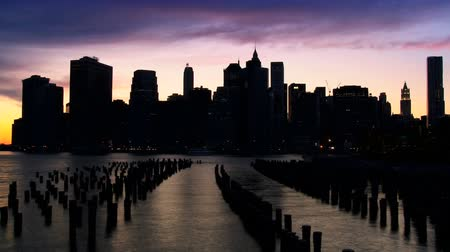 sunset city : Time Lapse Sunset view of Manhattan Financial District at Sunset New York City, North America, USA Stock Footage