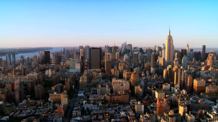 havai : Aerial view of Downtown Manhattan at Sunset, NY, USA Stok Video