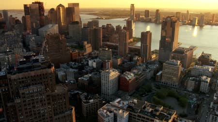 фотосъемка :  Aerial of New Jersey and Downtown Manhattan Skyline at Sunset, New York, North America, USA