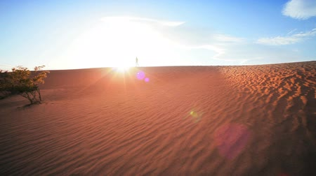 сухой : Distant figure of a lone female achieving an ambition hiking in a desert environment