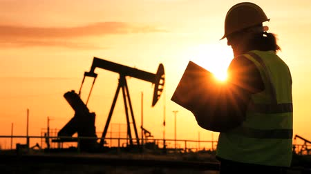 recursos : Female engineer with clipboard using a cell phone at the site of crude oil production