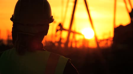 perpetual motion : Female engineer in safety clothing talking on a cell phone at an oil production plant at sunset