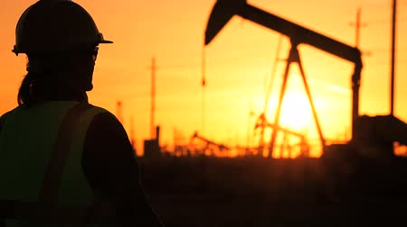 хорошо : Female engineer using a cell phone at sunset at the site of a crude oil production farm Стоковые видеозаписи