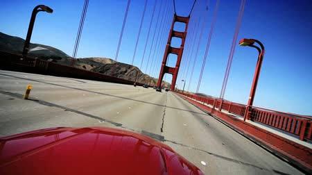 gates : Point-of view driving across San Franciscos Golden Gate Bridge