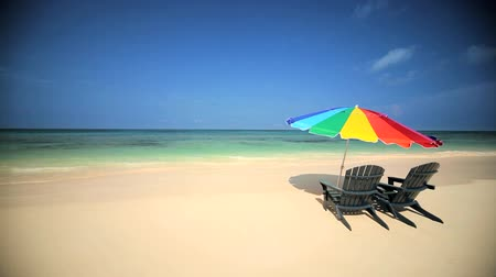 cadeira : Sun parasol & easy chairs  on the beach on a paradise island